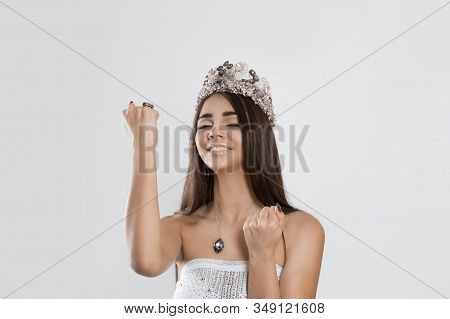 I Am So Lucky I Won The Miss Contest. Happy Young Woman Happy Girl Exults Pumping Fists Ecstatic Iso