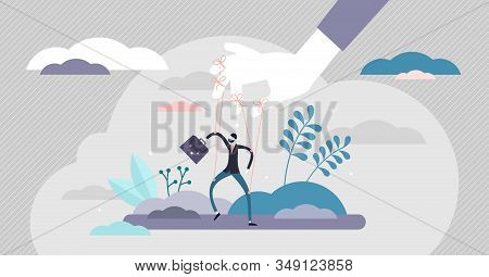 Controlling And Toxic Work Environment Concept, Flat Tiny Person Vector Illustration. Puppet Doll Bu