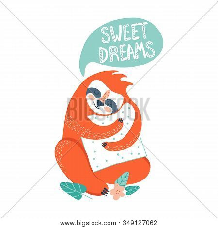 Cute Sloth Sleeping With Pillow. Adorable Cartoon Character Vector Illustration. Lazy Animal. Jungle