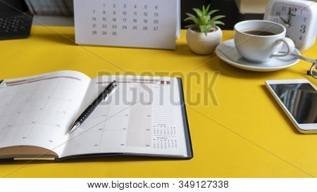 Diary,calendar And Agenda For Planner To Plan Timetable,appointment,organization At Office.desktop C