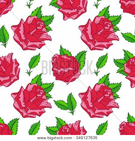Vector Seamless Pattern With Hand Drawn Roses. In Pink And Green Colors.