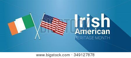 Irish-american Heritage Month - March - Long Horizontal Banner Template With Irish And Usa Crossed F