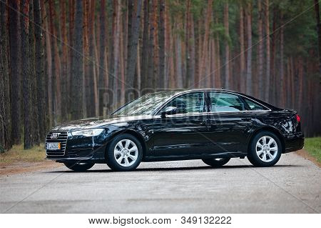 Grodno, Belarus - December 2019: Audi A6 4g, C7 2.0 Tdi 190 Hp 2016 Facelift Side View Outdoors On W