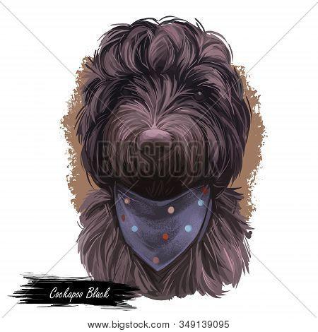 Cockapoo Black Dog Digital Art Illustration Of Cute Canine Animal. Mixed-breed Dog Cross Between Ame