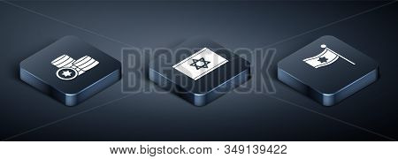 Set Isometric Jewish Coin, Flag Of Israel And Flag Of Israel Icon. Vector