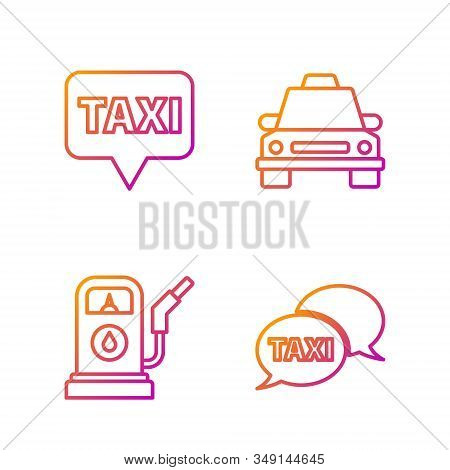 Set Line Taxi Call Telephone Service, Petrol Or Gas Station, Map Pointer With Taxi And Taxi Car. Gra