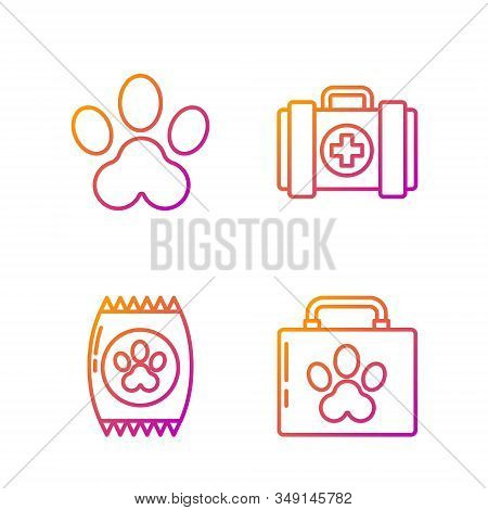Set Line Pet First Aid Kit, Bag Of Food For Pet, Paw Print And Pet First Aid Kit. Gradient Color Ico