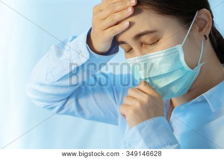 Woman Cough And Sick With Face Mask Protection, Coronavirus, Air Pollution, Allergic Sick Woman With