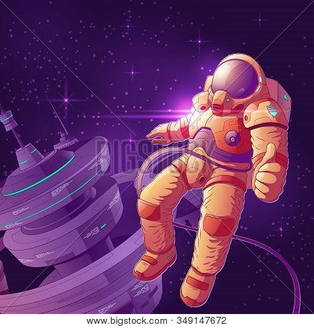 Space Tourist Having Fun On Orbit Cartoon Illustration. Astronaut In Futuristic Spacesuit Working Ne