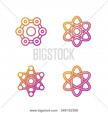 Set Line Atom, Atom, Chemical Formula And Atom. Gradient Color Icons. Vector