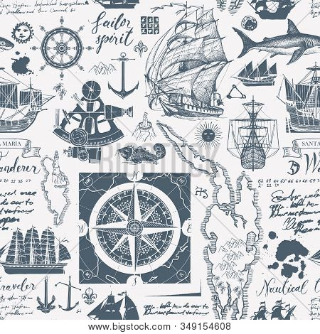 Vector Abstract Seamless Pattern On The Theme Of Travel, Adventure, Discovery. Vintage Background Wi