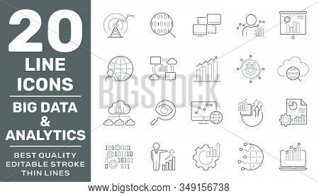 Big Data And Analytics Icons Set. Contain Icons As Chart, Report Document, Graph Data Analytics, Pre