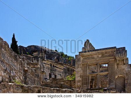 Ruins of ancient architecture inside Les Baux de Provence poster