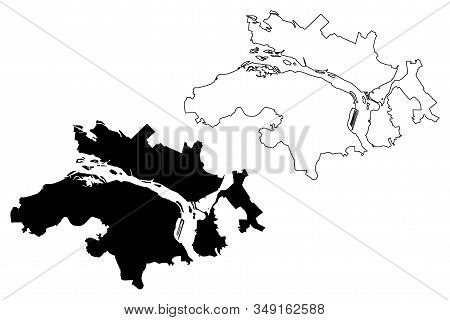 Dnipro City (ukraine) Map Vector Illustration, Scribble Sketch City Of Dnipropetrovsk Map