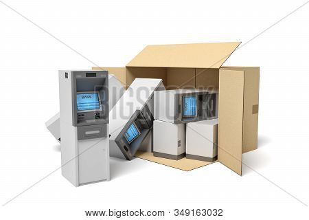 3d Rendering Of Cardboard Box Lying Sidelong With Several Atms Inside And Some Outside.