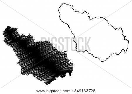 District Of Gjakova (republic Of Kosovo And Metohija, Districts Of Kosovo, Republic Of Serbia) Map V