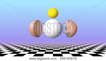 Abstract Surreal Poster With Egg Disassembled And Sorted By Components Over Chechered Landscape In V