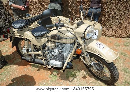 Bloemfontein, South Africa - November 1, 2008: A Ural Sidecar Motorcycle At The South African Armour