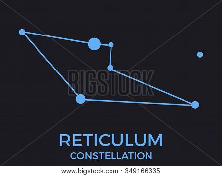 Reticulum Constellation. Stars In The Night Sky. Cluster Of Stars And Galaxies. Constellation Of Blu