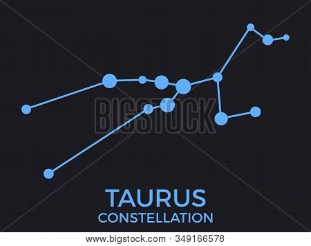 Taurus Constellation. Stars In The Night Sky. Cluster Of Stars And Galaxies. Constellation Of Blue O