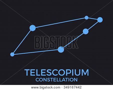 Telescopium Constellation. Stars In The Night Sky. Cluster Of Stars And Galaxies. Constellation Of B