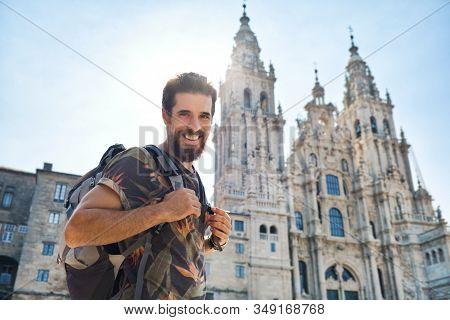 Portrait Of Happy Man On Pilgrimage At Santiago De Compostela