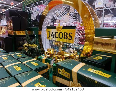 Popular German Jacobs Coffee On Shelf For Sale At Auchan Shopping Centre On December 25, 2019 In Rus