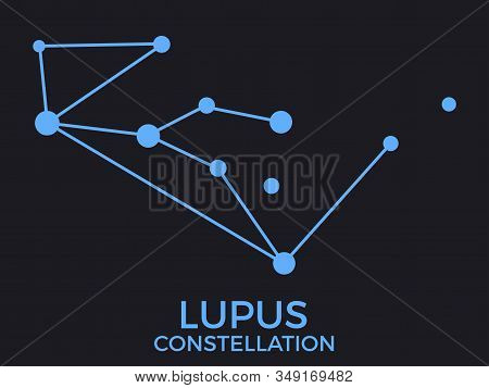 Lupus Constellation. Stars In The Night Sky. Cluster Of Stars And Galaxies. Constellation Of Blue On