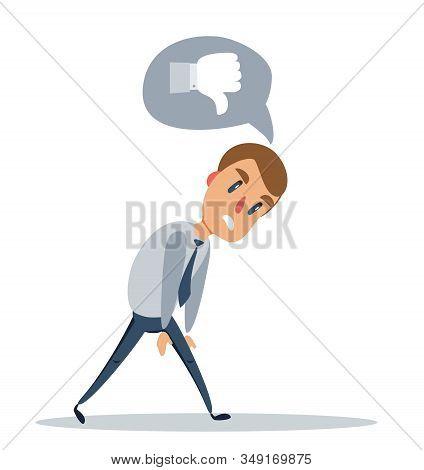 Vintage Businessman Walk Sad Tired Weary Character Icon Stylish Background Retro Cartoon Design Vect