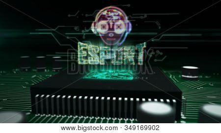 Esport Cyber Games With Gamer Symbol Glowing Hologram Over Working Cpu In Background. Modern And Fut