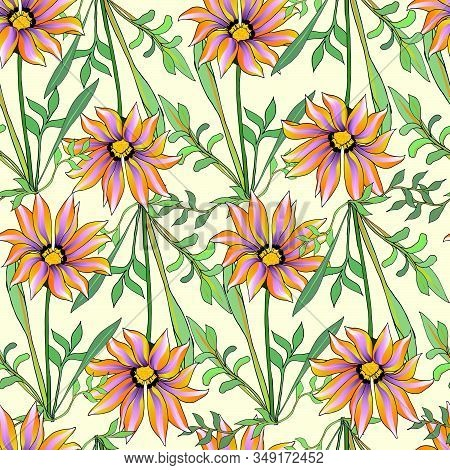 African Bright Pattern Of Orange Flowers. Seamless Vector Floral Background Of Gerberas, Daisies For