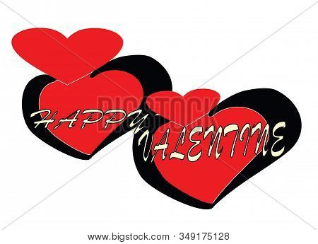 Happy Valentines. Calligraphy Of Letters Handwritten In White Isolated On The Background Of A Red He