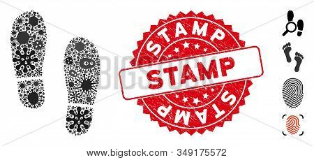 Virus Mosaic Boot Footprints Icon And Round Distressed Stamp Seal With Stamp Caption. Mosaic Vector