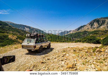 Borsh, Albania - August 03, 2014. Off Road Car Heading In The Mountains Near Borsh