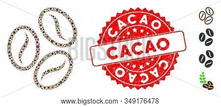 Pandemic Mosaic Cacao Beans Icon And Rounded Grunge Stamp Seal With Cacao Text. Mosaic Vector Is Cre