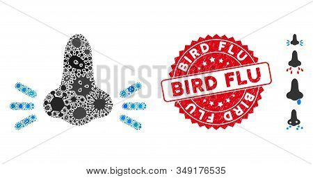 Flu Mosaic Infected Nose Icon And Round Rubber Stamp Seal With Bird Flu Phrase. Mosaic Vector Is Com