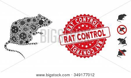 Fever Collage Rat Icon And Rounded Corroded Stamp Watermark With Rat Control Text. Mosaic Vector Is