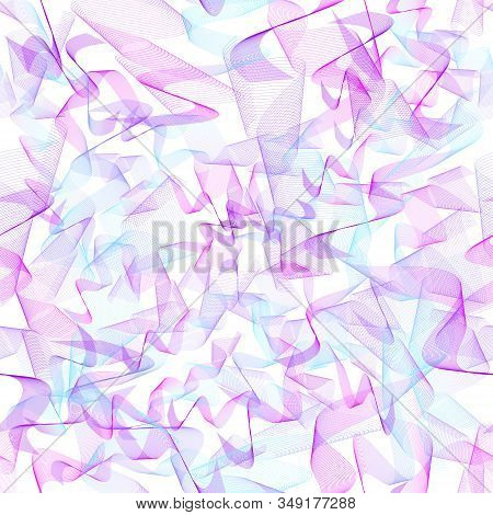 Purple, Magenta, Light Blue Chaotic Squiggles. Seamless Intricate Pattern. Textured Abstract Backgro