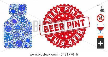 Outbreak Mosaic Bottle Icon And Rounded Corroded Stamp Seal With Beer Pint Text. Mosaic Vector Is Cr