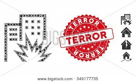 Pathogen Mosaic House Terror Icon And Round Grunge Stamp Seal With Terror Caption. Mosaic Vector Is
