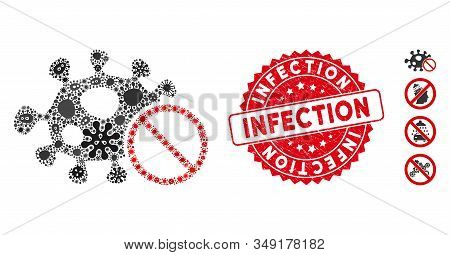 Infectious Mosaic Stop Infection Icon And Rounded Corroded Stamp Seal With Infection Phrase. Mosaic
