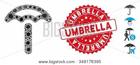 Microbe Mosaic Umbrella Icon And Round Corroded Stamp Seal With Umbrella Text. Mosaic Vector Is Form