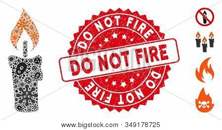 Contagious Collage Candle Icon And Round Distressed Stamp Seal With Do Not Fire Text. Mosaic Vector