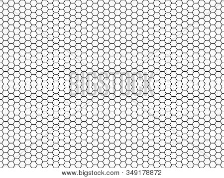 Hexagon Honeycomb Pattern. Honey Hexagonal Backdrop, Mosaic Cells Structure, Geometric Line Grid Tex