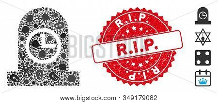 Contagious Mosaic Expired Grave Icon And Round Grunge Stamp Watermark With R.i.p. Phrase. Mosaic Vec