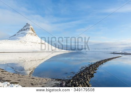 Famous Mountain With Waterfalls In Iceland, Kirkjufell Mountain, Winter In Iceland, Ice And Snow,ref