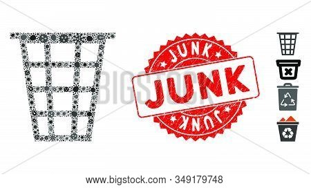 Contagion Mosaic Junk Icon And Rounded Grunge Stamp Seal With Junk Phrase. Mosaic Vector Is Created