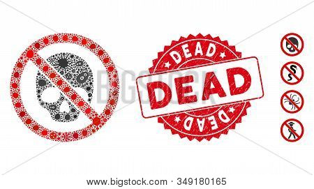 Flu Mosaic No Dead Skull Icon And Round Rubber Stamp Watermark With Dead Phrase. Mosaic Vector Is Co