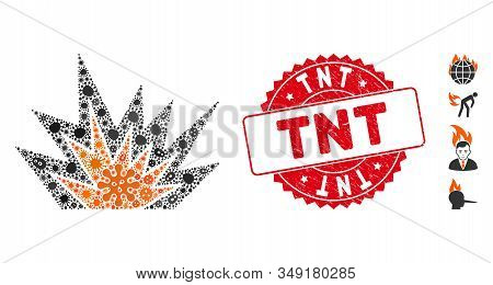 Contagion Mosaic Explosion Boom Icon And Rounded Rubber Stamp Watermark With Tnt Caption. Mosaic Vec