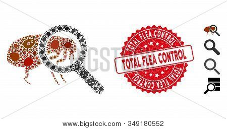 Pathogen Mosaic Total Flea Control Icon And Rounded Rubber Stamp Seal With Total Flea Control Phrase